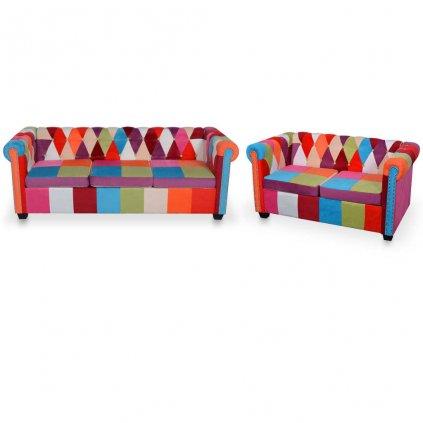 2-dílný set chesterfield pohovka Oallen | textil