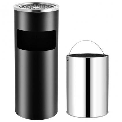 Hotelový odpadkový koš s popelníkem - 30 l - ocel | černá