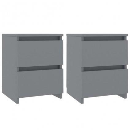 Noční stolky - dřevotříska - 2 ks - šedé | 30x30x40 cm