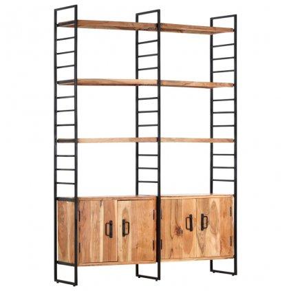 4-patrová knihovna - masivní akáciové dřevo | 124x30x180 cm