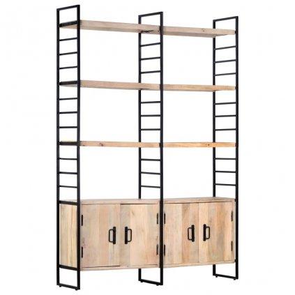 4-patrová knihovna -  masivní mangovníkové dřevo | 124x30x180 cm