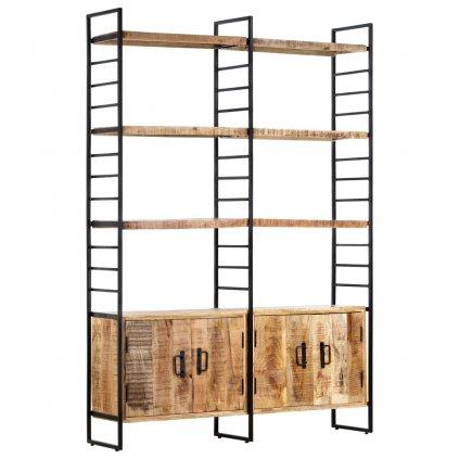 4-patrová knihovna - hrubé mangovníkové dřevo   124x30x180 cm