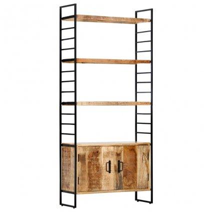 4-patrová knihovna - hrubé mangovníkové dřevo   80x30x180 cm