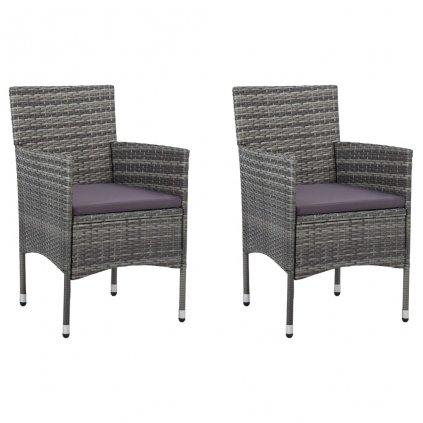 Zahradní jídelní židle Spur - 2 ks - polyratan | šedé