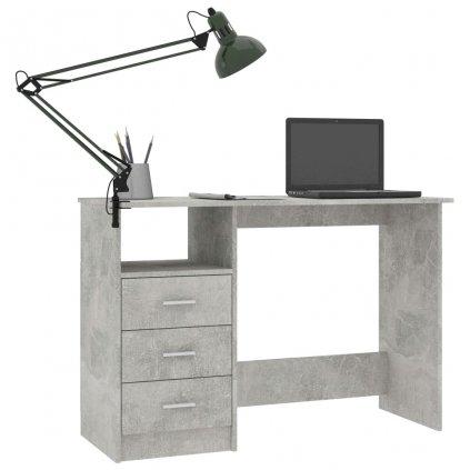 Psací stůl Braith se zásuvkami - betonově šedý | 110x50x76 cm