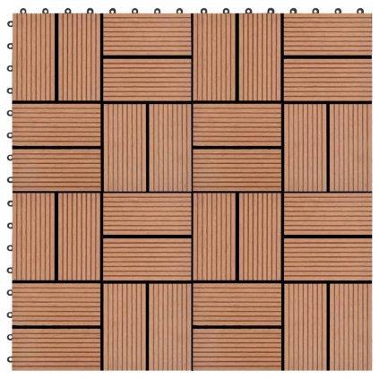 22 ks terasové dlaždice - 2m2 - WPC - hnědé   30x30 cm