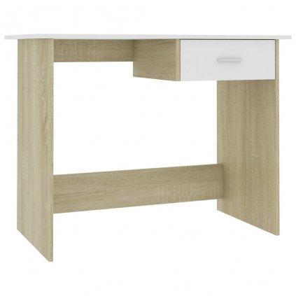 Psací stůl Rouh - bílý a dub sonoma | 100x50x76 cm