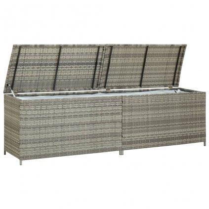 Zahradní úložný box Viano - polyratan - 200 x 50 x 60 cm | šedý