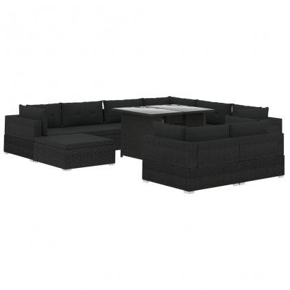 10-dílná zahradní sedací souprava Forgatty s poduškami - polyratan   černá