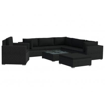 Zahradní sedací souprava Burton - 8dílná - s poduškami - polyratan | černá II