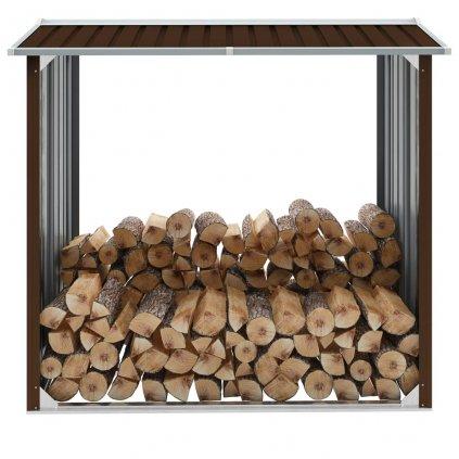 Kůlna na dříví - pozinkovaná ocel - hnědá | 172x91x154 cm