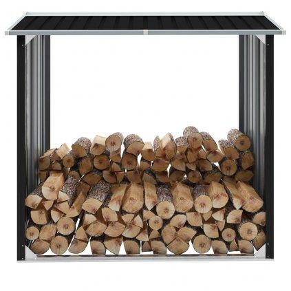 Kůlna na dříví - pozinkovaná ocel - antracitová | 172x91x154 cm