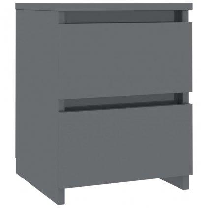 Noční stolek - dřevotříska - šedý s vysokým leskem   30x30x40 cm