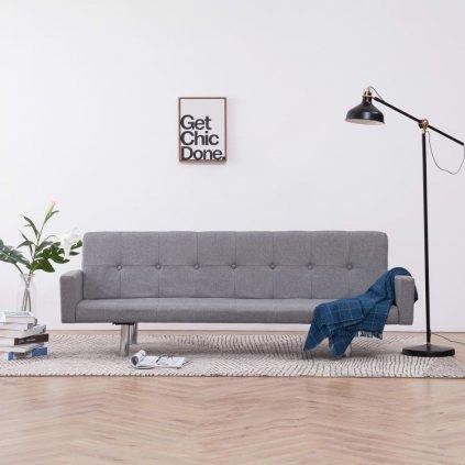 Rozkládací pohovka s područkami Lacona - polyester | světle šedá