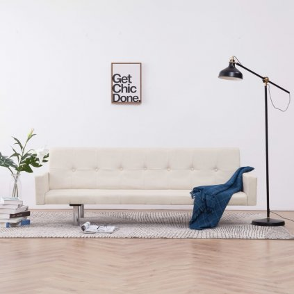 Rozkládací pohovka s područkami Lacona - polyester | krémová