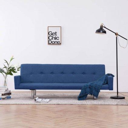 Rozkládací pohovka s područkami Lacona - polyester | modrá