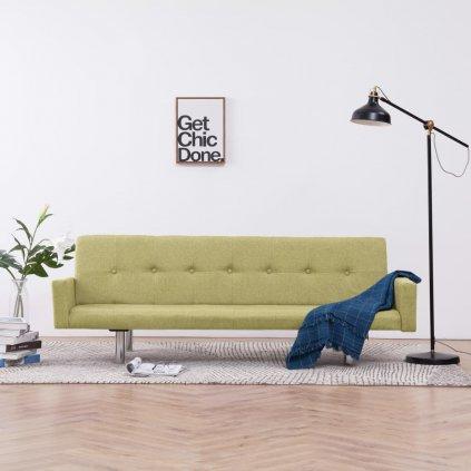 Rozkládací pohovka s područkami Lacona - polyester | zelená