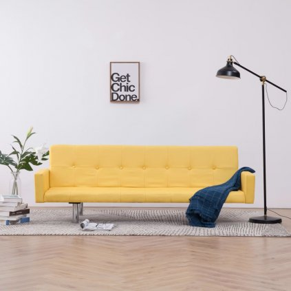 Rozkládací pohovka s područkami Lacona - polyester | žlutá
