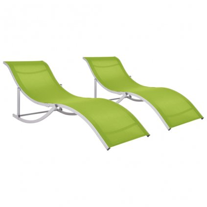 Skládací zahradní lehátka - 2 ks - textilen | zelená