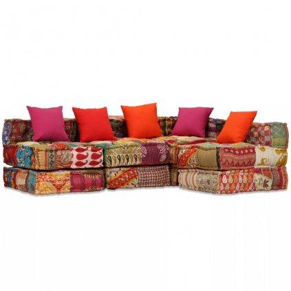 4-místná rozkládací pohovka Broulee s textilním čalouněním | patchwork