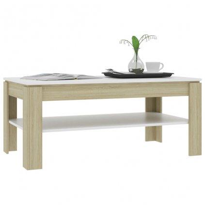 Konferenční stolek Script - bílý a dub sonoma   110x60x47 cm