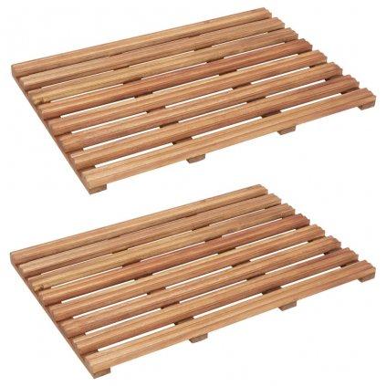 Koupelnové předložky - 2 ks - masivní akáciové dřevo | 56x37 cm