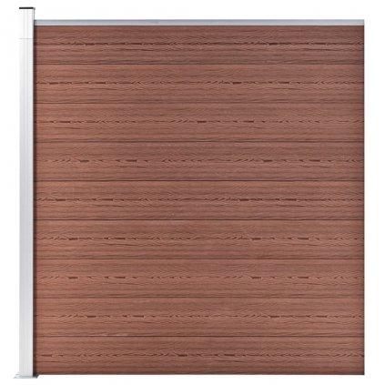 Zahradní plot Atlanta - dřevoplast - 1díl + 1sloupek - 180x186 cm | hnědý