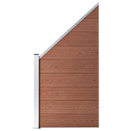 Zahradní plot Atlanta - dřevoplast - 1 šikmý díl - 100-180 cm | hnědý