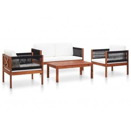 Zahradní sedací souprava Wells - 4dílná   masivní akáciové dřevo