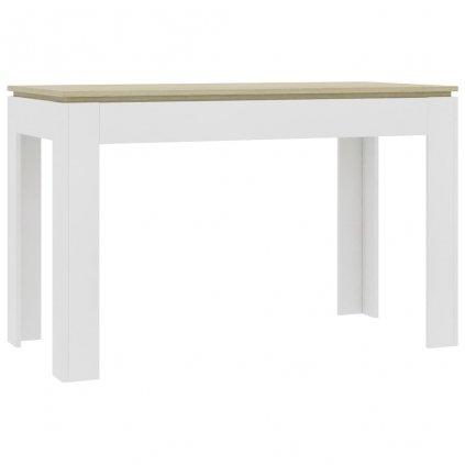 Jídelní stůl Clyde - bílý a dub sonoma - dřevotříska | 120x60x76 cm