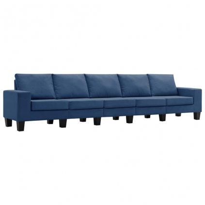 Pohovka Kerens - 5místná - textil | modrá