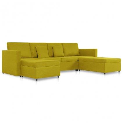 Rozkládací pohovka Beverly - 4místná - textil | žlutá