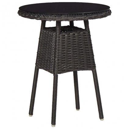 Zahradní křesla s čajovým stolkem - polyratan - 2 ks | černá