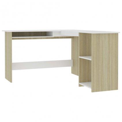 Rohový psací stůl Gosnells - dřevotříska - bílý a dub sonoma   120x140x75 cm