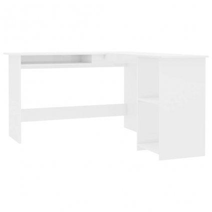Rohový psací stůl Tonkin - dřevotříska - bílý vysoký lesk | 120x140x75 cm
