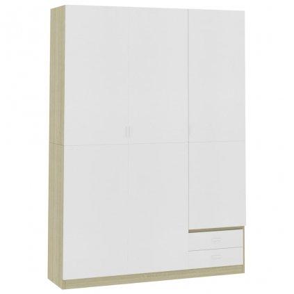 Dveřová šatní skříň Berocca - bílá dub sonoma | 120x50x180 cm
