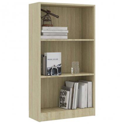 3-patrová knihovna Bieber - dub sonoma   60x24x108 cm