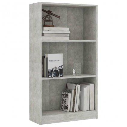 3-patrová knihovna Anabel - betonově šedá   60x24x108 cm