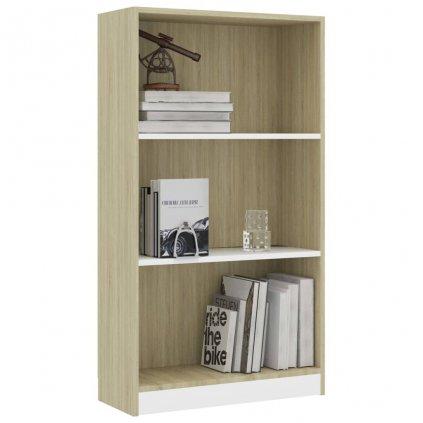 3-patrová knihovna Anabel - bílá dub sonoma   60x24x108 cm