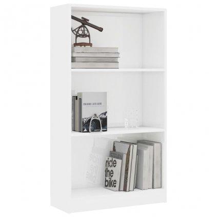 3-patrová knihovna Bieber - bílá vysoký lesk   60x24x108 cm