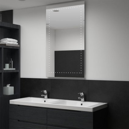 Koupelnové nástěnné zrcadlo (tečky) s LED osvětlením | 60x100 cm