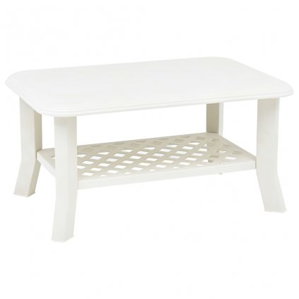 Konferenční stolek Elmos - bílý - 90x60x46 cm | plast