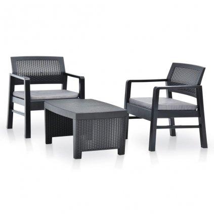 3-dílná zahradní sedací souprava Aroona - plast | antracitová