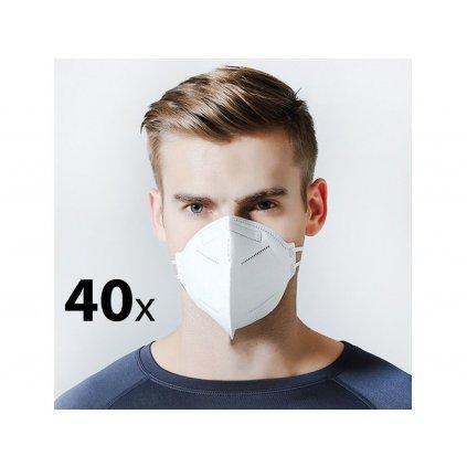 40x Respirátor - FFP2 (KN95, N95) - 4 vrstvy - respirační rouška