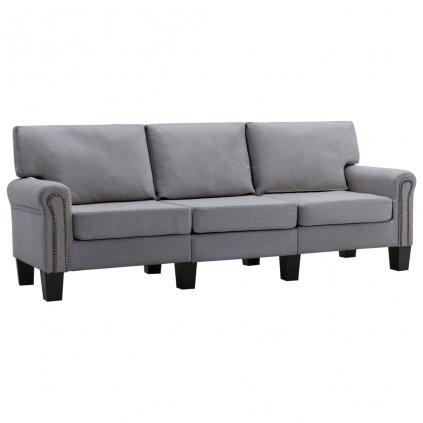 Pohovka Sapello - 3místná - textil | světle šedá