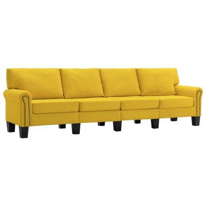 Pohovka Sapello - 4místná - textil | žlutá
