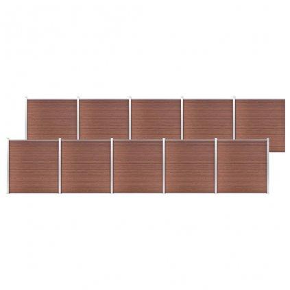 Zahradní plot Atlanta - dřevoplast - 10dílů - 1737x186 cm   hnědý