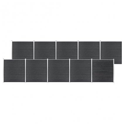 Zahradní plot Atlanta - dřevoplast - 10dílů - 1737x186 cm   šedý