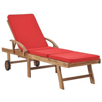 Zahradní lehátko Riverton s červenou poduškou - teak | 195x59,5x35 cm