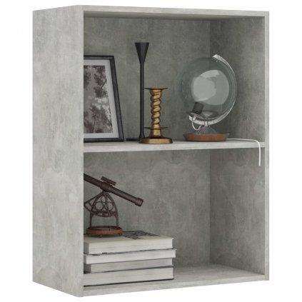 2-patrová knihovna Bieber - betonově šedá | 60x30x76,5 cm